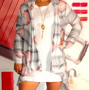 White dress with tribal open front cardigan